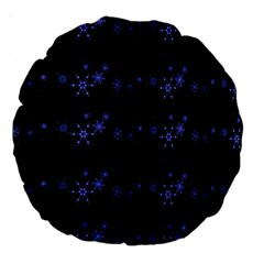 Xmas Elegant Blue Snowflakes Large 18  Premium Round Cushions by Valentinaart