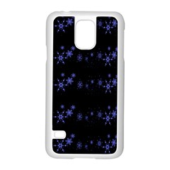 Xmas Elegant Blue Snowflakes Samsung Galaxy S5 Case (white) by Valentinaart