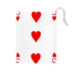 Cart Heart 03 Tre Cuori Drawstring Pouches (large)  by AnjaniArt