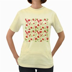 Eat Pattern Tomato Cerry Friute Women s Yellow T Shirt