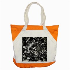 Black And White Passion Flower Passiflora  Accent Tote Bag by yoursparklingshop