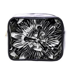 Black And White Passion Flower Passiflora  Mini Toiletries Bags by yoursparklingshop