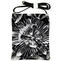 Black And White Passion Flower Passiflora  Shoulder Sling Bags by yoursparklingshop
