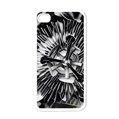 Black And White Passion Flower Passiflora  Apple Iphone 4 Case (white) by yoursparklingshop