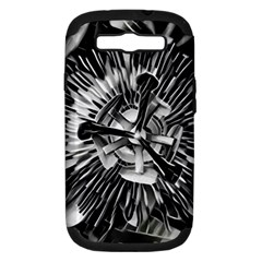 Black And White Passion Flower Passiflora  Samsung Galaxy S Iii Hardshell Case (pc+silicone) by yoursparklingshop