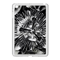 Black And White Passion Flower Passiflora  Apple Ipad Mini Case (white) by yoursparklingshop