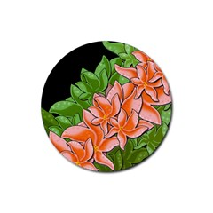 Decorative Flowers Rubber Round Coaster (4 Pack)  by Valentinaart
