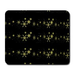Yellow Elegant Xmas Snowflakes Large Mousepads by Valentinaart