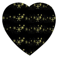 Yellow Elegant Xmas Snowflakes Jigsaw Puzzle (heart) by Valentinaart