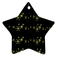 Yellow Elegant Xmas Snowflakes Star Ornament (two Sides)  by Valentinaart