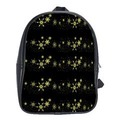 Yellow Elegant Xmas Snowflakes School Bags(large)  by Valentinaart