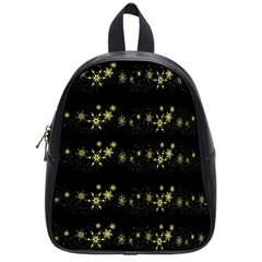 Yellow Elegant Xmas Snowflakes School Bags (small)  by Valentinaart