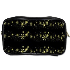Yellow Elegant Xmas Snowflakes Toiletries Bags by Valentinaart