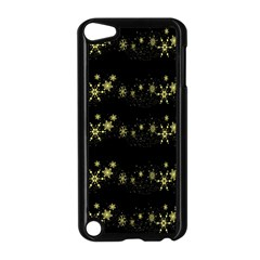Yellow Elegant Xmas Snowflakes Apple Ipod Touch 5 Case (black) by Valentinaart