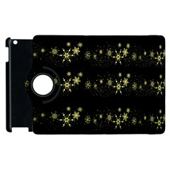 Yellow Elegant Xmas Snowflakes Apple Ipad 2 Flip 360 Case by Valentinaart