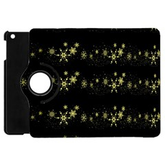 Yellow Elegant Xmas Snowflakes Apple Ipad Mini Flip 360 Case by Valentinaart