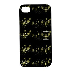 Yellow Elegant Xmas Snowflakes Apple Iphone 4/4s Hardshell Case With Stand by Valentinaart