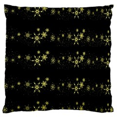 Yellow Elegant Xmas Snowflakes Large Flano Cushion Case (two Sides) by Valentinaart