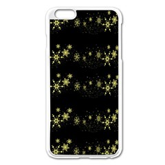 Yellow Elegant Xmas Snowflakes Apple Iphone 6 Plus/6s Plus Enamel White Case by Valentinaart