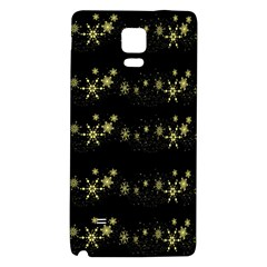 Yellow Elegant Xmas Snowflakes Galaxy Note 4 Back Case by Valentinaart