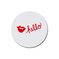 Hello Lip Red Sexy Rubber Round Coaster (4 Pack)