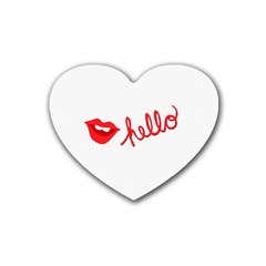 Hello Lip Red Sexy Heart Coaster (4 Pack)