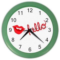 Hello Lip Red Sexy Color Wall Clocks by AnjaniArt