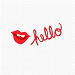 Hello Lip Red Sexy ENGAGED 3D Greeting Card (8x4) Inside