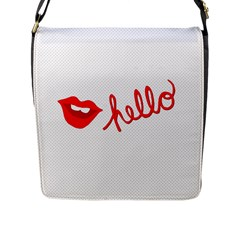 Hello Lip Red Sexy Flap Messenger Bag (l)  by AnjaniArt