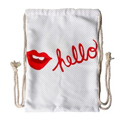 Hello Lip Red Sexy Drawstring Bag (large) by AnjaniArt