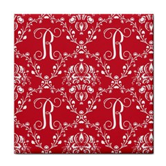 Initial Damask Red Paper Tile Coasters