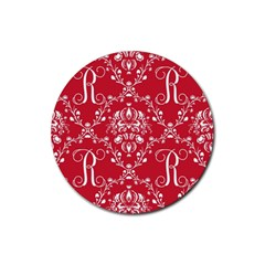 Initial Damask Red Paper Rubber Round Coaster (4 Pack)
