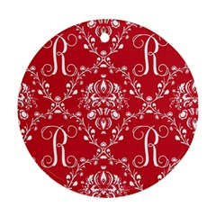 Initial Damask Red Paper Round Ornament (two Sides)