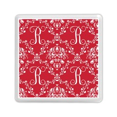 Initial Damask Red Paper Memory Card Reader (square)