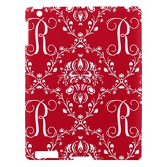 Initial Damask Red Paper Apple Ipad 3/4 Hardshell Case
