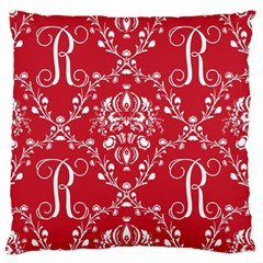 Initial Damask Red Paper Large Cushion Case (one Side)
