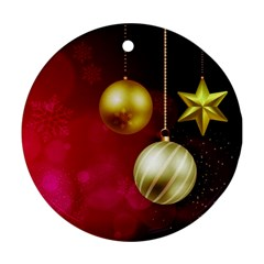 Lamp Star Merry Christmas Round Ornament (two Sides)