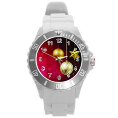Lamp Star Merry Christmas Round Plastic Sport Watch (l) by AnjaniArt