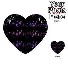 Purple Elegant Xmas Playing Cards 54 (heart)  by Valentinaart