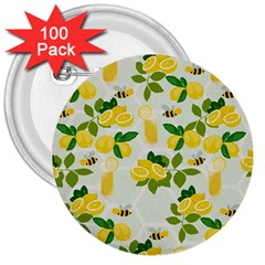Lemon Print Fruite Juise Fress Drink 3  Buttons (100 Pack)
