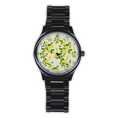 Lemon Print Fruite Juise Fress Drink Stainless Steel Round Watch