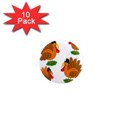Thanksgiving Turkeys 1  Mini Magnet (10 Pack)  by Valentinaart