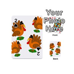 Thanksgiving Turkeys Playing Cards 54 (mini)  by Valentinaart