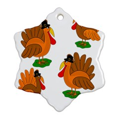 Thanksgiving Turkeys Snowflake Ornament (2 Side) by Valentinaart