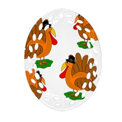 Thanksgiving Turkeys Oval Filigree Ornament (2 Side)  by Valentinaart