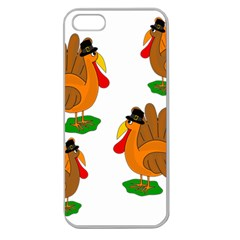 Thanksgiving Turkeys Apple Seamless Iphone 5 Case (clear) by Valentinaart