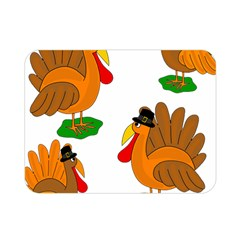 Thanksgiving Turkeys Double Sided Flano Blanket (mini)  by Valentinaart