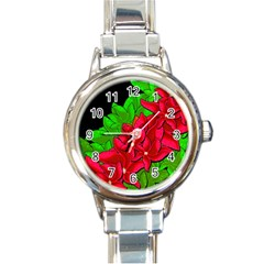 Xmas Red Flowers Round Italian Charm Watch by Valentinaart