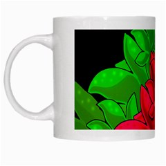 Xmas Red Flowers White Mugs by Valentinaart