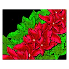 Xmas Red Flowers Rectangular Jigsaw Puzzl by Valentinaart